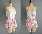 large / xl 60s pink ROSE print cotton romper by Roxanne / 1960s rose cotton romper
