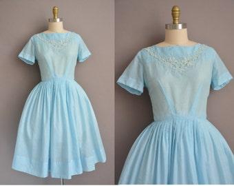50s Dixie Deb ice blue cotton vintage dress / vintage 1950s dress