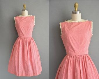 50s red gingham cotton print vintage dress / vintage 1950s dress