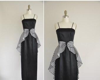 25% off SHOP SALE... 60s dress / 1960s vintage dress / black and white satin peplum party dress