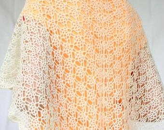 Crochet lace shawl off white cream fashion scarf wedding accessory elegant summer evening wrap beautiful neckwear shoulder warmer