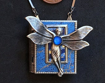 Fairy Book Necklace - wearable miniature book with a magical story inside