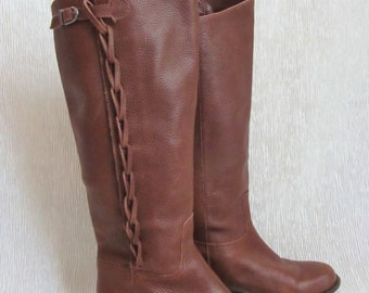 Tall Leather Boots, Braid, Equestrian, Low Heel,  Pull On, Size 7.5 US