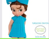 """Doll Clothes - Knitting Pattern - Dress For Disney Animators Dolls -  16 """"  Dolls Clothes Pattern -Turquoise  Crayon Collection"""