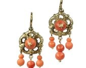 For Sale 25% off Coral Bead Earrings Victorian chandelier earrings coral beads 18k yellow gold ca.1850