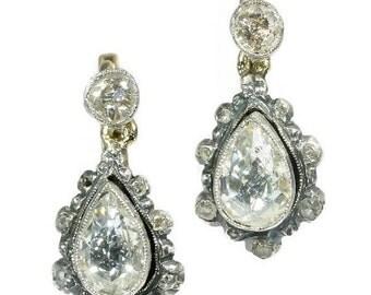 20% Off Valentine Sale Antique pear shaped diamond drop earrings Victorian jewelry