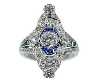 Valentines Sales Art Deco platinum marquise ring 1.75ct diamonds blue calibrated sapphires circa 1920