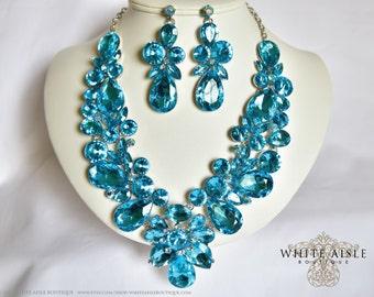 Aqua Wedding Jewelry Set, Vintage Inspired Necklace, Rhinestone Necklace, Crystal Bridal Necklace, Bridal Jewelry Set, Statement Necklace