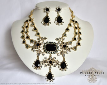 Vinage Inspired Bridal Jewelry Set, Black Statement Necklace, Drop Earrings, Wedding Jewelry Set