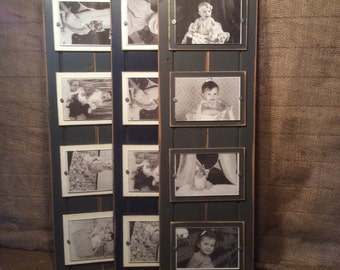 Distressed wood picture frame quadruple 4x6