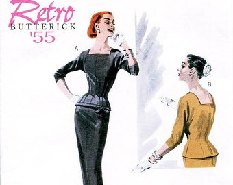 Sz 14/16/18/20 - Misses' Fitted Top and Slip Pencil Skirt - Retro Butterick '55 Dress Pattern B5557