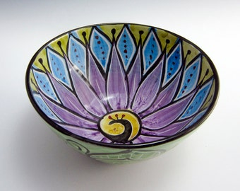 Medium Small Ceramic Serving Bowl - Orchid Purple Turquoise Blue Lotus Flower - Majolica Pottery- Kitchen Bowl - Clay Bowl - Mandala Pattern