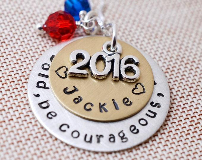 Personalized Class of 2016 Necklace School Colors - 2k16 Seniors School Pride - High School College Tech Grad Gifts - Congratulations Grads