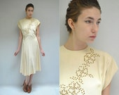Beaded Sequin Dress  //  50s Ivory Dress  //  THE DIAMANT