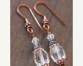 Silver Earrings,Blue Earrings,Copper Earrings,Swarovksi Crystal,Bright Blue Rhinestone,Dangle