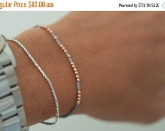 Summer SALE 14k solid rose gold beaded friendship bracelet. Silk bracelet. fine jewelry.