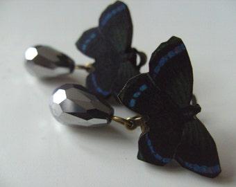 Butterfly, CLIP ON, earrings, wood, dangle, tear drop, faceted glass, black, silver, blue, by NewellsJewels on etsy
