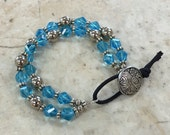 2 Strand Aqua Crystal Bracelet with Button / Free Shipping