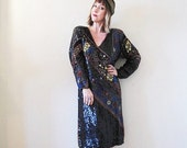 BIG ASS SALE vintage 70s 80s beaded sequined silk dress Indian tunic boho Gatsby flapper