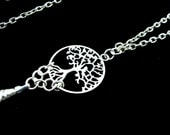 Women's Fashion ID Badge Holder Lanyard with Ornate, Silver Tree of Life