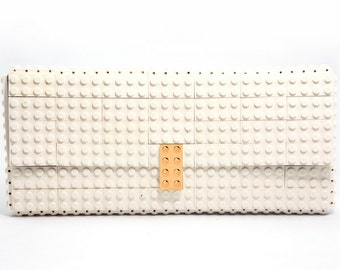White clutch purse with real gold plated elements made with LEGO® bricks FREE SHIPPING purse handbag legobag trending fashion lego