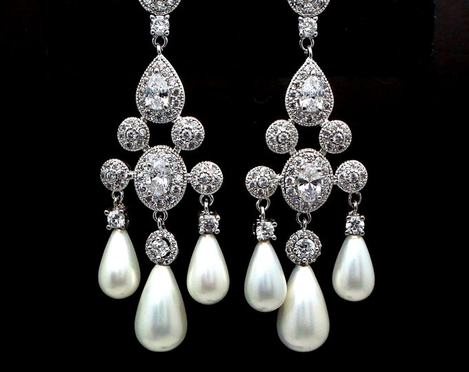 bridal earrings jewelry wedding micropave chandelier white gold post cubic zirconia earrings white or cream swarovski pearls round halo deco