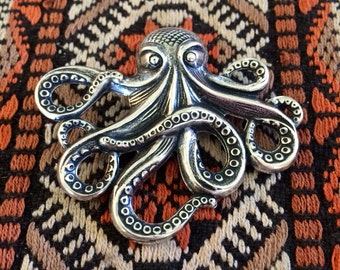 Giant octopus squid kraken tie tack lapel pin // handmade in the USA // unique mens statement piece gift idea // vintage antique silver