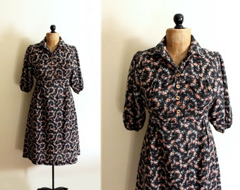 SALE vintage dress 1970s clothing black floral print prairie country western folk size medium m 8