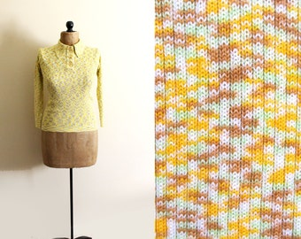 vintage sweater 1970s womens clothing space dye yellow knit retro size small s medium m