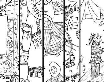 First Five Pages Discount - Alaska Native hand drawn coloring pages - download and print first five drawings - print at home