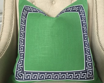 Solid heavy weight linen in kelly green with attached greek key trim - Made to order