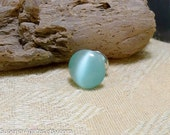 Light Blue Cats Eye Glass Gemstone Tie Tack Hat Pin Lapel Brooch Pin Scarf Pin