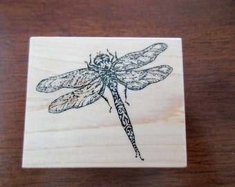 dragonfly rubber stamp mounted on wood -  PSX F-2870
