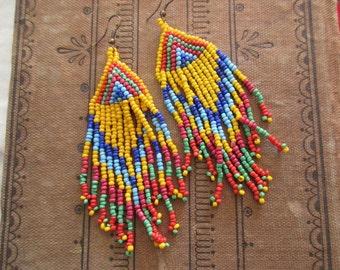 vintage long, dangle beaded Earrings - pierced, yellow, blue, orange