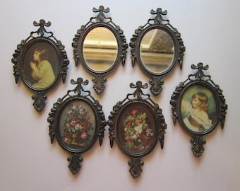 6 vintage metal frames and mirrors -cast, flourished, rococo, made in ITALY