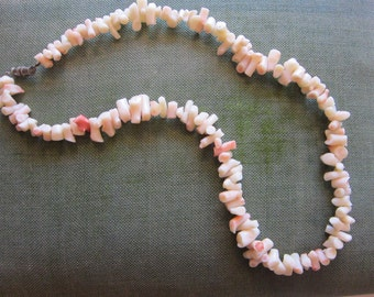 vintage branch coral necklace - pink and white, angel skin coral - 18 inches