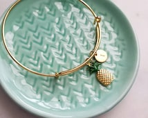 Personalized pineapple bangle, fun modern jewelry