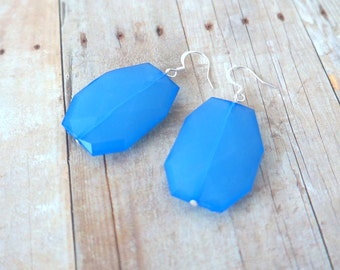 R O Y A L - Bright Royal Blue, Acrylic Faceted Chunky Statement Bead, Silver Plated Dangle Earrings