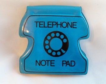 Vintage Phone Blue Note Pad, Telephone Plastic Message Pad Hong Kong