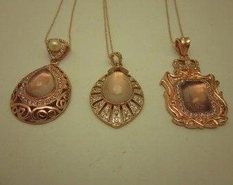 Neo-Victorian Opulent Bridal Rose Gold Necklaces Rose Moonstone R.Gld Chain 21st C.CleopatraBoho Wedding  ArtDeco Mother's Day Rhinestone