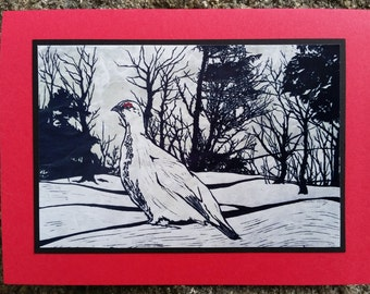 5 Ptarmigan Notecards on Turquoise or Red