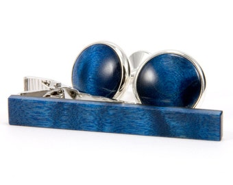 Unique Figured Blue Maple Silver Cufflink Tie Bar Set | Wooden Cufflink Tie Clip Set | Stylish Gift Idea For Someone Special | Fathers Day