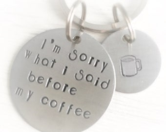 Coffee Lover Hand Stamped Keychain