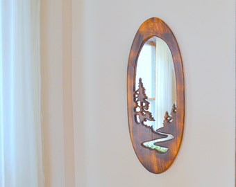 handmade vintage rustic wood and glass hanging mirror / wall hanging / woodland home decor