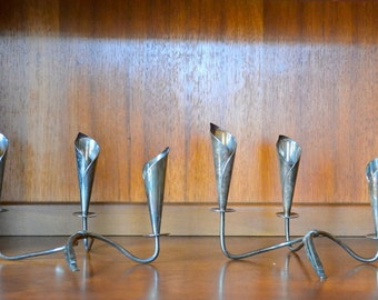 vintage hans jensen silverplate calla lily candle stick holders