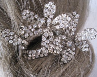 Vintage Rhinestone and Brass Hair Pin Barrette Bridal Hair Accessory Sash Buckle Sew On Applique