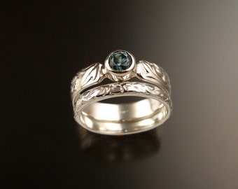 Blue Zircon ring Sterling Silver blue Diamond substitute Victorian flower and vine pattern two ring set made to order in your size