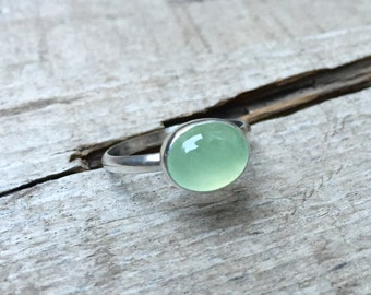 Minimalist Apple Green Brazil Oval Prehnite Elegant Solitaire Sterling Silver Ring | Green Gemstone Ring | Solitaire Ring | Engagement Ring