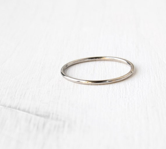 solid 14k thin white gold ring stackable by