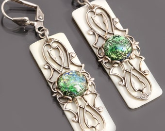 Green Opal Earrings, Filigree Earrings, Upcycled Piano Key Jewelry